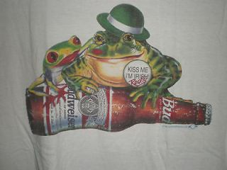 1996 Kiss Me Im Irish Really Budweiser Frog White Short Sleeve Tee