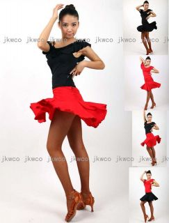 latin dance dress top + skirt set salsa tango chacha dance costume