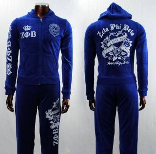 Blue Zeta Phi Beta Jogging, Warm up, 2pc Track Suit Velour Tracksuit