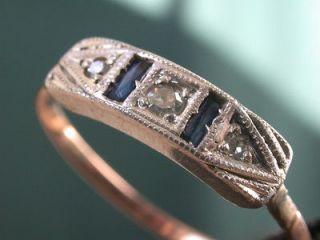 ANTIQUE DECO 9K SOLID GOLD GENUINE DIAMONDS BLUE SAPHIRE RING no