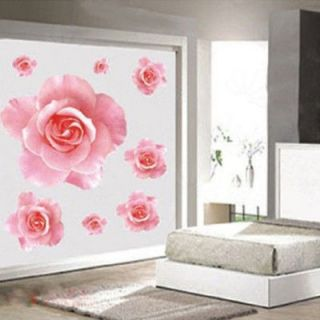 Wall Sticker 3D Pink Rose Flower Removable Home Decor Decal Vinyl