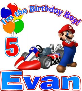 SUPER MARIO KART IM THE BIRTHDAY BOY PARTY T SHIRT DESIGN DECAL NEW