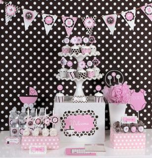 Pink Baby Girl Baby Shower Mod Party Supplies Kit Invitations Favors