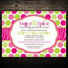 Pink Sugar & Spice Zebra Print Birthday or Baby Shower Invitations
