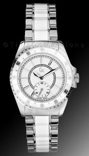 NEW GUESS COLLECTION GC SPORT CLASS WHITE CERAMIC SS SILVER LADY WATCH