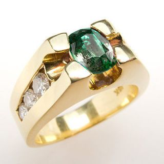 Natural Alexandrite Mens Ring w/ Diamond Accents Heavy Solid 18K Gold