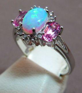 Fantastic Stylish Opal & Diamond & Pink 10k White Gold Ring Size 6.5