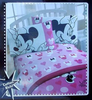 DISNEY MINNIE MOUSE LOVE PINK 3PC TWIN SHEETS BEDDING SET NEW