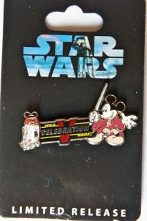DISNEY STAR WARS WEEKENDS PIN JEDI MICKEY MOUSE & R2 MK NEW ON BACK