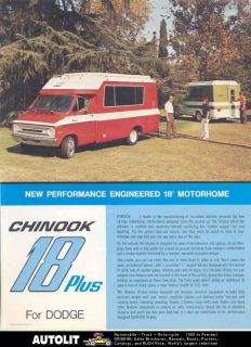 1969 ? Chinook 18 Plus Dodge Motorhome RV Brochure