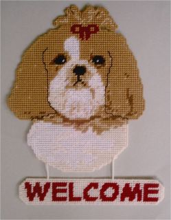 Shihtzu  Shih tzu Welcome Sign Plastic Canvas Pattern