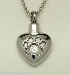 DOG PAW PRINT CREMATION URN NECKLACE HEART PET URN CREMATION JEWELRY
