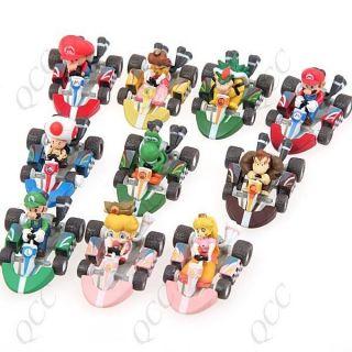 10 Set Super Mario Yoshi Bowser Toad Baby Luigi Race Cars Racing Kart