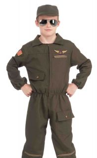 Kids Fighter Jet Pilot Military Uniform Halloween Costume