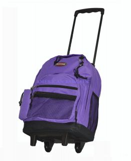 Transworld Purple 16.5 Rolling Backpack/ Wheeled School Book Bag (8