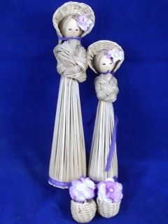 Store 2 Woven Straw Country Girl Dolls Figurines Bonnets 7 & 5