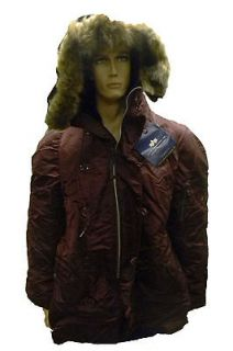 Alpha Industries N3B Flight Parka Maroon with Coyote Style Fur Hood