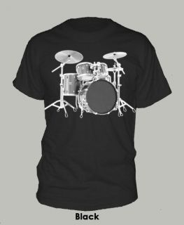 DRUMSET ~ T SHIRT drummer drums percussion bass rock music ALL SIZES