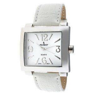 Peugeot Ladies Silver Tone Watch White Leather Strap 706WT NIB