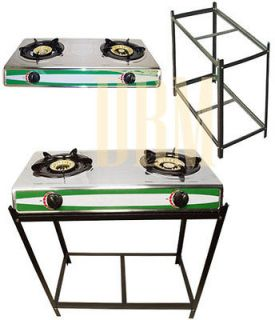 Propane Gas Dual Stove W/ Stand Combo Gasoline Double 2 Burners Stove