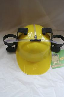 YELLOW PARTY DRINKING BEER POP SODA DRINK FAKE HARD HAT HELMET HOLDER