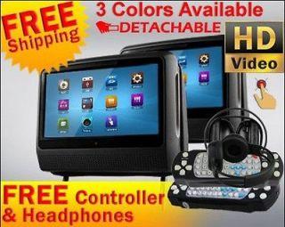 Black Dual 9 Inch Car Pillow Headrest DVD Player Touch Screen BT IR