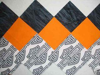 30 6 HARLEY DAVIDSON Shield logo, Orange Tonal & Gray Quilt Sew