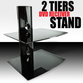 DVD Player Cable Box Wall Mount Shelf Stand Direct TV Glass Receiver