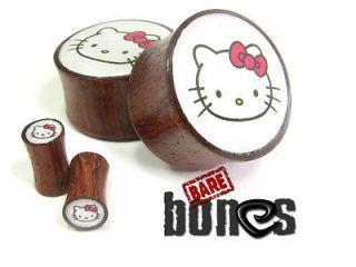 Ear Gauges 6g Blood Wood Organic Body Jewelry Hello Kitty Plugs Gauges