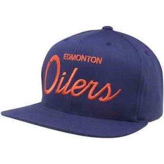 Mitchell & Ness Edmonton Oilers Navy Blue Script Snapback Adjustable