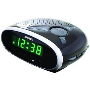JENSEN AM FM ALARM CLOCK RADIO GREEN DISPLAY AUDIO INPUT SLEEP SNOOZE
