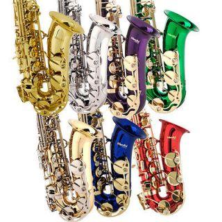 Mendini Concert Band Alto Saxophone Sax ~Gold Silver Blue +Tuner+11