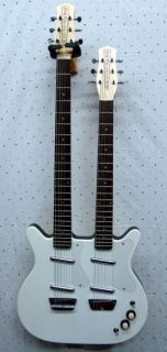 Dano Double Neck 6/6 Electric Guitar White w/Tweed Hard Shell Case