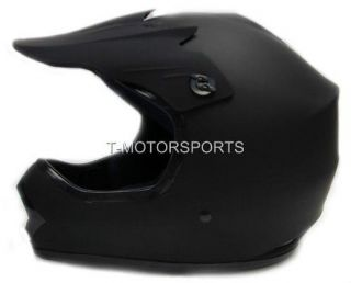 YOUTH KIDS FLAT MATTE BLACK MOTOCROSS HELMET MX ATV DIRT BIKE OFF ROAD