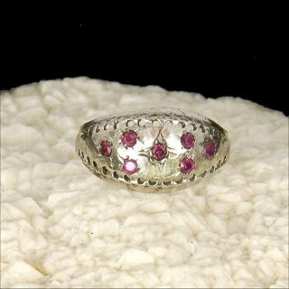 solid 14k white gold estate dome ring, small rubies rings sz 7 1/2 M F