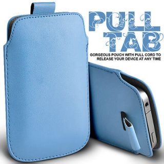 BABY BLUE PULL TAB LEATHER POUCH CASE SKIN COVER FOR SONY ERICSSON W8
