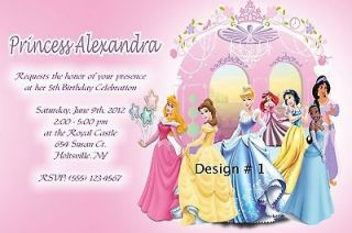 PERSONALIZED DISNEY PRINCESSES BIRTHDAY PARTY INVITATIONS