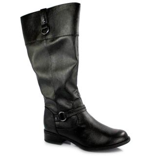 Womens Riding Boot Equestrian Ring Decor Side Zipper Faux Leather Soda