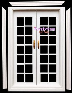 Dollhouse Miniature Double French Doors For Interior Or Exterior