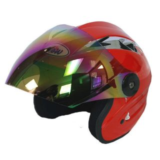 NEW Motorcycle Open Face 3/4 Helmet Red Racing Style Lens Color Clear