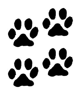 Paw Prints Dog Cat Vinyl Decals Stickers 4 set puppy cute girl animal
