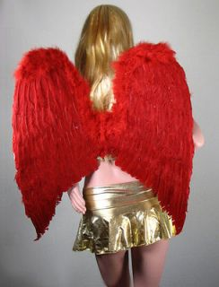 EXTRA LARGE RED Feather Angel Wings Photo Props Halloween costume Free
