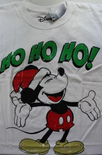 Disney Mickey Mouse Ho Ho Ho Santa Claus Graphic T Shirt White S/M/L