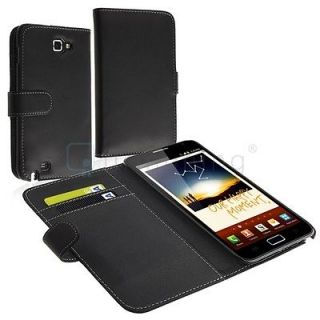Black Flip Leather Case Cover w/ Card Holder For Samsung Galaxy Note