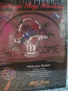 MCG TEXTILES WELCOME BASKET HERITAGE RUG HOOKING KIT SEALED 2001