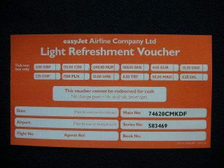 easyJet airline Light Refreshment Voucher collectable.