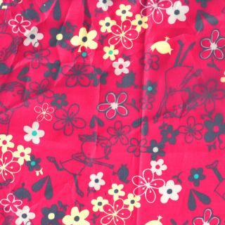 PUL WATERPROOF FABRIC TABLECLOTH OILCLOTH FLORAL RED 56