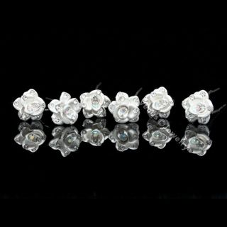 PCS Frosted White Rose Flower Crystal Bridal Wedding Hair Pins