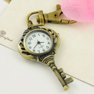 19 style Bronze Boy Girl Quartz Lovely Key Ring Pocket Pendant Watch