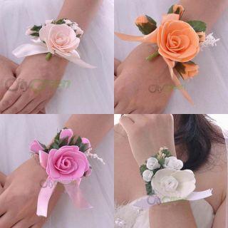 New Elegant Rose Flower Wedding Bridal Bridesmaids Wrist Corsage 4